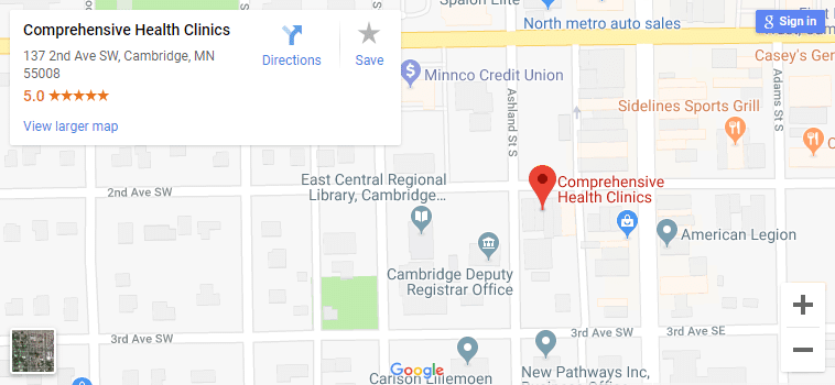 Map of Cambridge MN Chiropractors